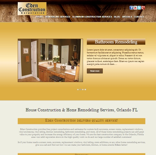Eden Construction New Website